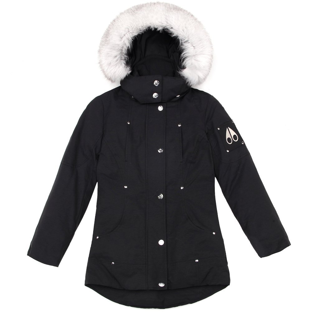Moose Knuckles Girls Parka MK2231GP Black/White Fur SZ 6