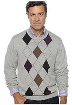 NWT Saddlebred XL Cotton Blend Knit Crew Neck  Sweater Gray Multi Argyle... - $11.87