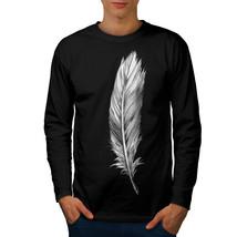 Elegant Feather Tee Painting Men Long Sleeve T-shirt - $14.99