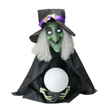 Lighted Sitting Fortune Telling Witch with Magic Ball Halloween Decoration - $73.00