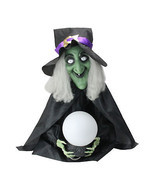 Lighted Sitting Fortune Telling Witch with Magic Ball Halloween Decoration - €63,64 EUR