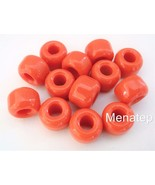 25 5 x 9 mm Czech Glass Roll Beads: Orange - $1.13