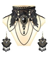 Black Crochet Lace Choker Necklace Gothic Jewelry Halloween Amulets Earr... - $23.98