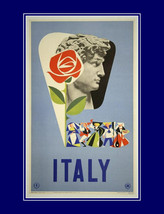 Vintage travel & tourism poster,  Fly to Italy, Old World Europe, travel... - $23.99
