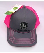 John Deere Grey Neon Hot Pink Mesh Snapback Adjustable Baseball Trucker ... - £17.99 GBP