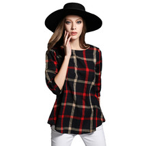 Autumn Women Plaid Blouse Vintage XXXXXL O Neck 3/4 Sleeve Line Casual L... - $18.00
