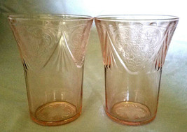 RARE Vtg Hazel-Atlas Depression Glass Pink Royal Lace 9 oz. Tumblers, Se... - $20.25