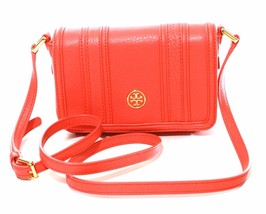 Tory Burch Landon Mini Cross Body Bag Leather Poppy Coral Orange Small - $246.67