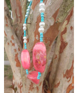 Pink and blue necklace - $32.10