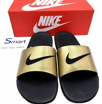 NEW SIZES 11-12 WOMEN Nike Kawa Logo Slides Sandals Slipper Black Metall... - $34.99