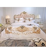 Royal White Gold Embroidery Egyptian Cotton Duvet Set 7PCS King/Queen Be... - $295.49+