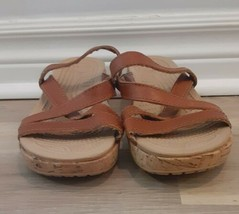 Crocs Womens A-Leigh Mini Wedge Leather Shoes, Brown Size 5 - $22.28