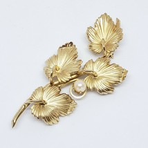 Vintage Gold Tone Brooch VTG Leaf Branch Faux Pearl Accent Pin VTG - $9.97
