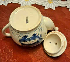 Vintage Japan Embossed Cobalt Blue w Sailboat Teapot, Hand Painted image 2