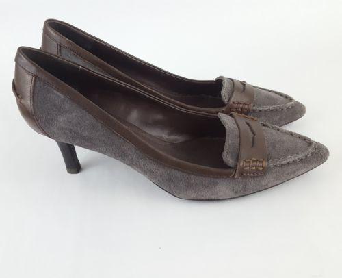 LRL Lauren Ralph Lauren Penny Loafer Pumps gray suede brown womens 7.5B
