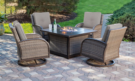 Luxury Sunbrella Outdoor Wicker Cast Aluminum Fire Pit Chat Set Patio Fu... - $2,095.00