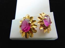 Pr Womens Vintage Estate 14K Gold Dangle Earrings w/ Pink Stones 5.8g E3345 - $350.00
