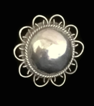Vintage Flower Sterling Silver Dome Bubble Ring size 7 Mexico  - $38.00