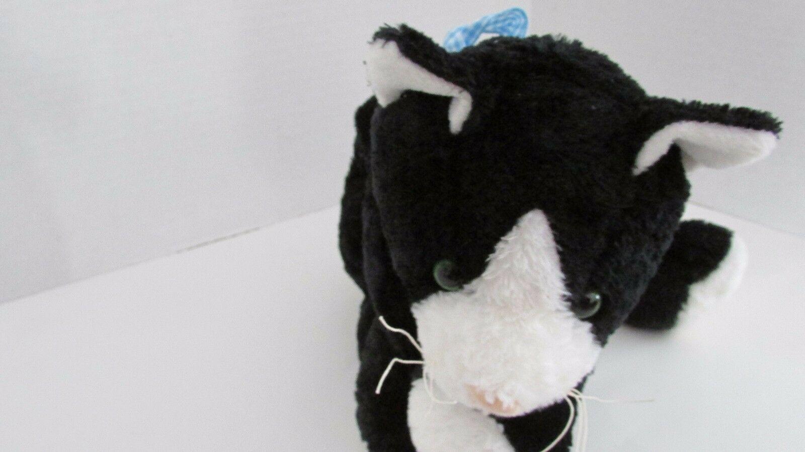 Mary Meyer flip flops black white tuxedo cat floppy bean bag plush blue bow