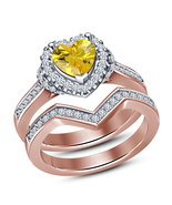 925 Sterling Solid Silver Rose Gold Finish Yellow Sapphire Her Bridal Ri... - $67.99