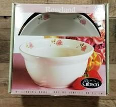 Gibson Design Dinnerware Roseland Large Serving Bowl Pink Roses - $39.55