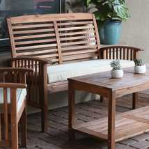 Wooden Patio Loveseat Outdoor Bench Brown White Cushion Backyard Furniture - $455.10