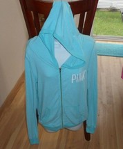 VICTORIA'S SECRET PINK ZIP UP THIN LIGHT HOODIE BLUE / TEAL / AUQA SMALL... - $19.54