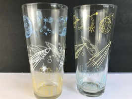 2 Vintage Sputnik Rocket Astronaut Space Age UFO Graphics Drinking Glass... - $39.59