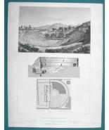 ARCHITECTURE PRINT 1850 - ITALY Pompeii View & Plan of Grand Amphitheater - $17.96