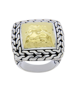 Auth JOHN HARDY Sterling Silver & 22K Gold Classic Chain Ring Size 5.5 »U48 - $438.52