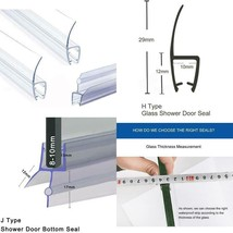 Glass Shower Door Seal Strip Sweep Stopper Frameless With Drip Rail 3 Pi... - $34.13