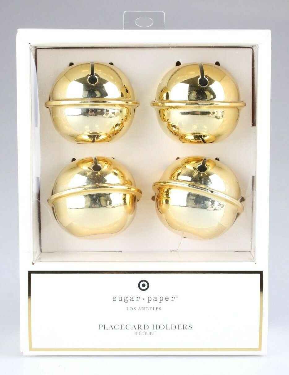 Set Of (4) Sugar Paper - Los Angeles - Gold Jingle Bell Placecard Holders NEW