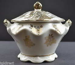 Vintage 50th Anniversary Lidded Sugar Bowl Gold Embellishments Collectible Decor - $14.99