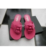 NIB 100% AUTH CHANEL 16C G31486 Pink Camellia Flower Flat Thong Sandals ... - $598.00