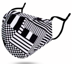 Simplicity Stoff Maske Verstellbarer Gurt Metall Nase Brücke Black / Weiß - $4.66