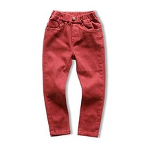 CUNYI Little Boys' Pull on Jeans Cotton Skinny Jeans Fashion Slim Fit Pants, Red - $21.64