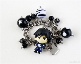 FMA Roy Charm Bracelet in Black and White, Kawaii Jewelry, Anime, Handmade - $34.00