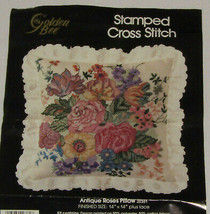 Antique Roses Pillow Stamped Cross Stitch Kit Golden Bee Opened Not Star... - $12.60