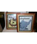 Pair of Whimsical Lion & Elephant Framed Cloth Pictures for Childs Room - $22.28
