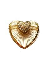 Monet Heart Wire Pin Vintage Rhinestones Heart - $22.49