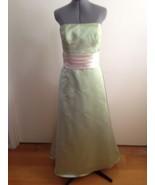 Bill Levkoff Beautiful Green Strapless Gown with Cream Sash Internal Cor... - $55.98