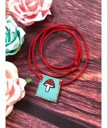 Kawaii Mushroom Necklace Pouch - Mini Handmade Pocket To Carry Small Items  - $19.79