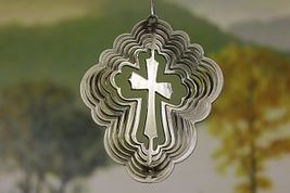 3 in stainless steel silver cross USA 3D hanging garden wind spinner, spinners - $9.00
