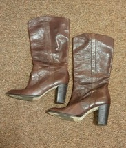 Kors Michael Kors Cowboy Western Boots Heel Brown Leather Size 9.5 Pull-On - $57.24