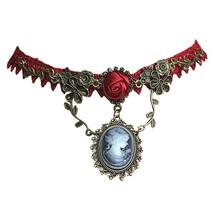 Fashion Necklace Jewelry Vintage Stylish Cameo Red Rose Lace Choker For Women Gi - $4.63