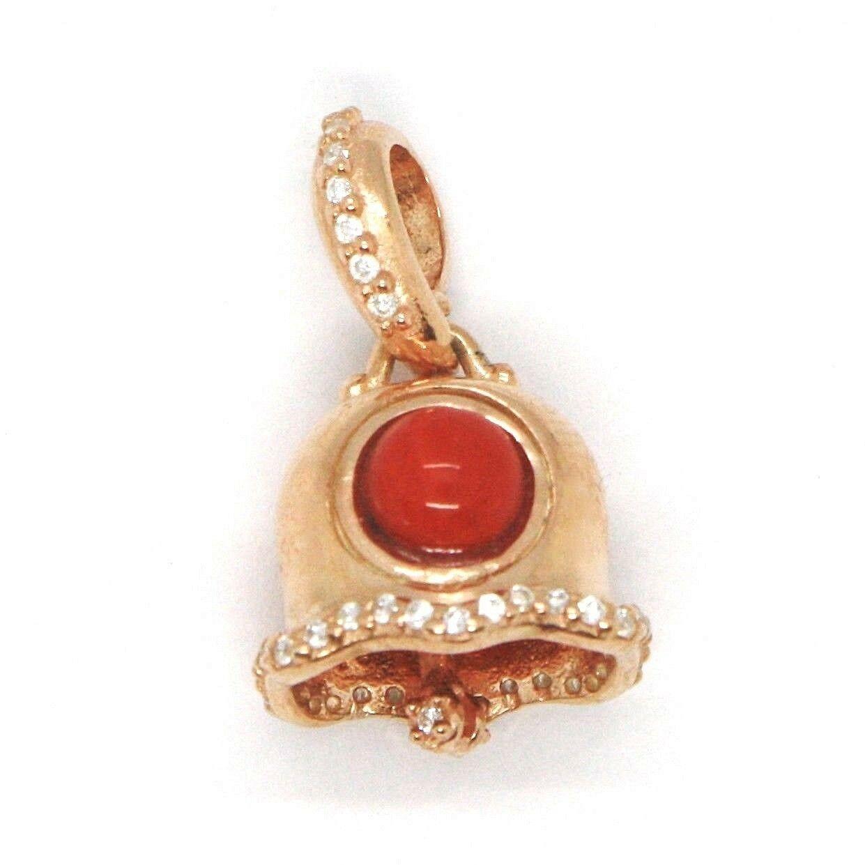 Silber Anhänger 925, Glocke, Glocke mit Zirkonia, Koralle, Anhänger image 3