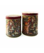 Set of 2 Round Stacking Victorian Santa Tins Christmas Tree Children Sto... - $16.90