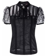Black Steampunk Victorian Gothic Top Renaissance See-Through Blouse SL00... - $24.95