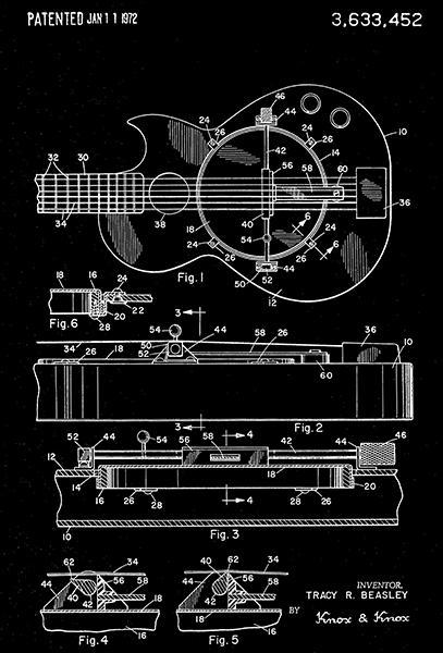 Primary image for 1972 - Combined Guitar And Banjo - T. R. Beasley - Patent Art Poster