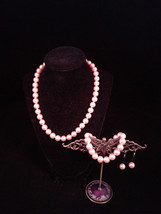Pink Imitation Pearl Hand-Knotted Necklace, Bracelet, and Earring Set, 1... - $30.00